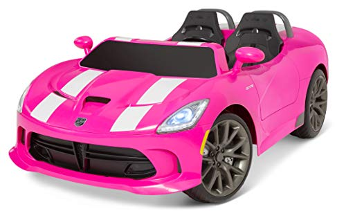 Kid Trax Dodge Viper SRT Convertible Toddler Ride On Toy, Ages 3 - 7 Years Old, 12 Volt Battery, Max Weight of 130 lbs, Two Seater, Working Lights, Pink (KT1124AZA)