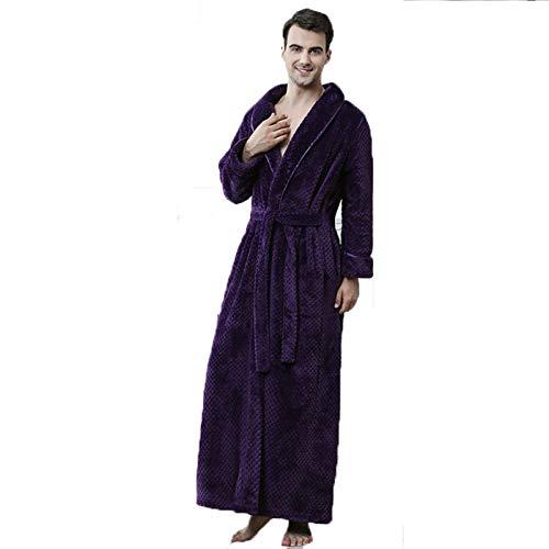 XRQ Sport Nightgown Herren Jungen Winter Flanell Fleece-Dressingkleid Voller Langer...