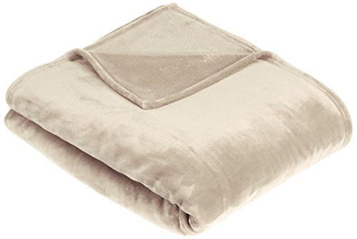 Amazon Basics Velvet Plush Throw Manta suave con tacto de terciopelo, arena, 229 x 229cm