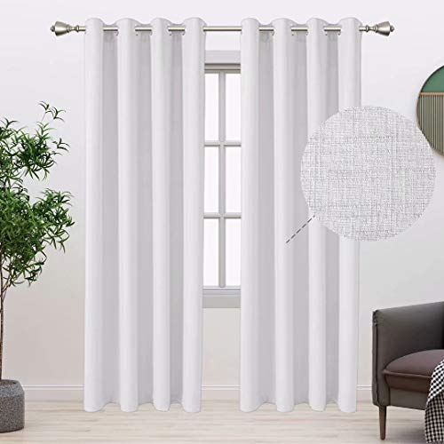 BONZER Linen Look Textured Curtains for Bedroom - Light Filtering Drapes Grommet Window Curtains for Living Room, Set of 2 Curtain Panels, 52 x 84 Inch, White