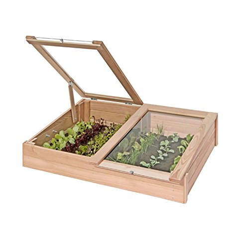 Gartenpirat Frühbeetkasten aus Lärchen-Holz Mini-Gewächshaus 119x80x30 cm