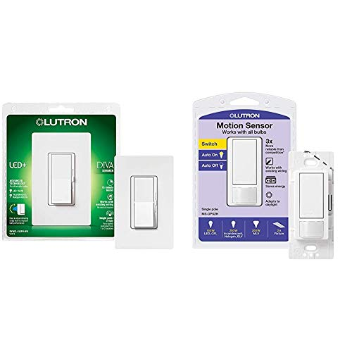 Lutron Diva LED+ Dimmer, White & Maestro Motion Sensor Switch, No Neutral Required, 250 Watts, Single-Pole, MS-OPS2-WH, White