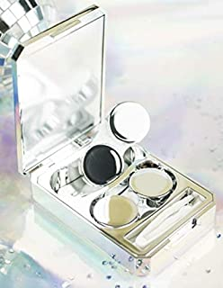 Mimoo-Stylish Premium Contact Lens Case,Contact Lens Container Kit Set Contacts Lens Holder Travel & Home Kit with Mirror,Tweezers,Stick Connection (Silver)