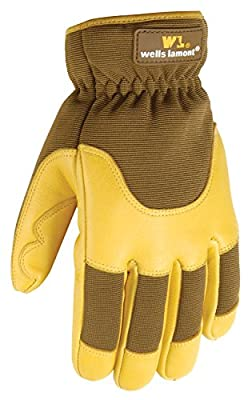 Wells Lamont 7661L Grips Gold Insulated Ultra Comfort Deerskin Work Gloves, Goldenrod, Large