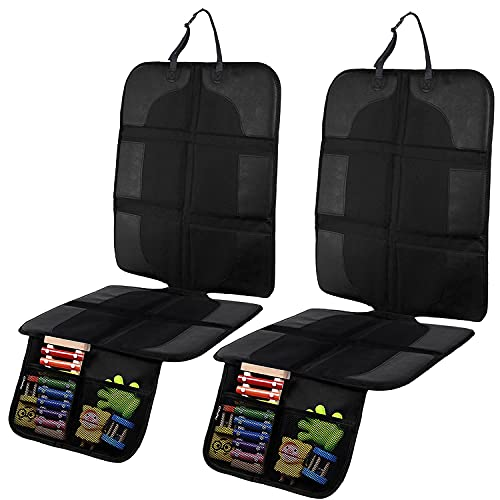 Ohuhu 2-Pack Car Seat Protector with Thickest Padding for Baby and Pet, Durable, Waterproof 600D Fabric Automotive Child Baby Seat Protector with 2 Large Storage Pockets for Sedan, SUV, Trucks