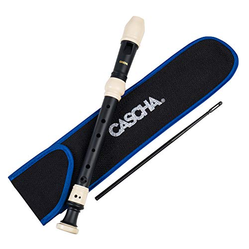 CASCHA Sopranblockflöte aus Kunststoff, hochwertige Flöte für Anfänger, Set mit Tasche, Flötenwischer und Grifftabelle, barocke Griffweise, schwarz matt
