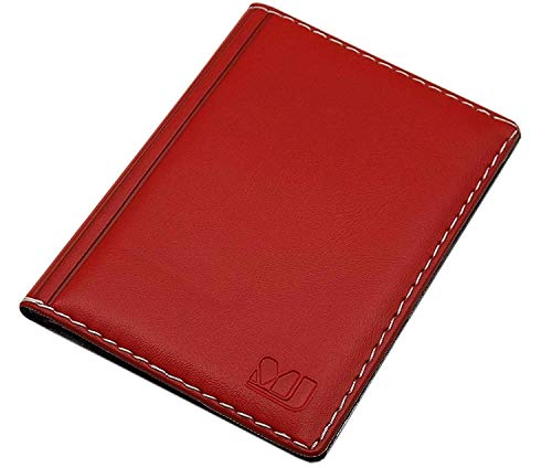 Elegantes Ausweisetui/Ausweishülle/Kreditkartenetui mit Kontrastnaht 4 Fächer MJ-Design-Germany Made in EU Designs (Design 1 / Rot)