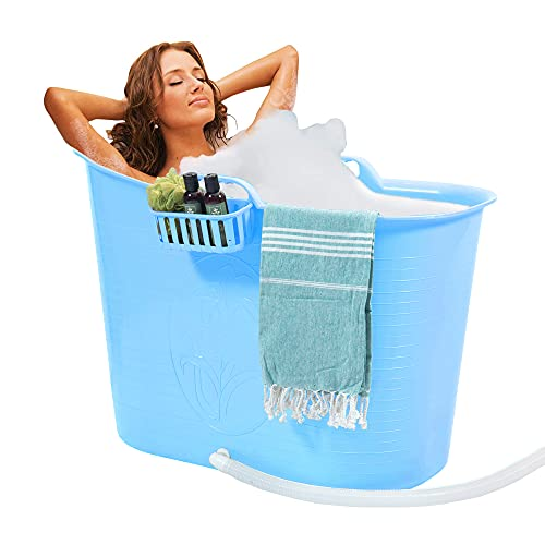 FlinQ Bañera Azul   Bañera portátil para adultos   Ideal para cuartos de baño pequeños   Bañera Adultos XL y Niños   Bañera de exterior   Bañera de plástico portátil para ducha