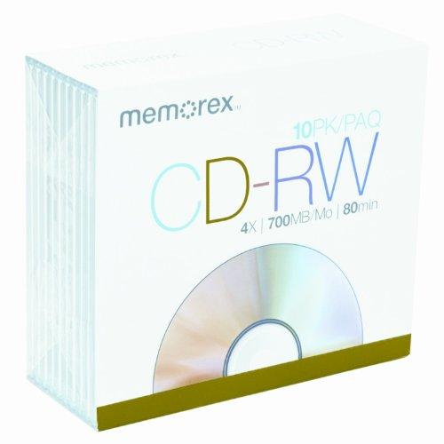 Memorex 700MB/80-Minute 4X CD-RW Media (10-Pack with Slim Jewel Cases)