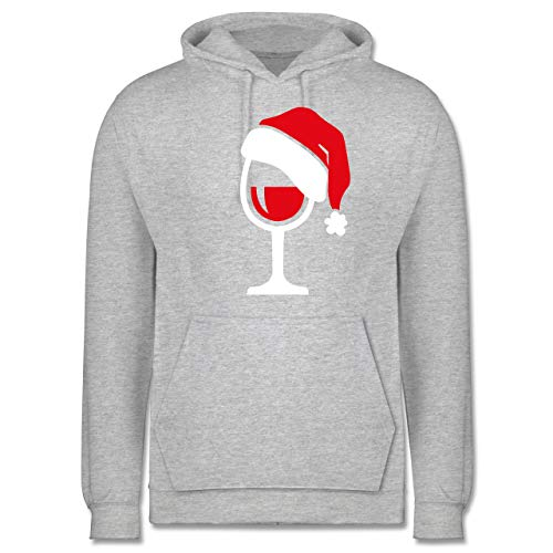Weihnachten & Silvester - Weinglas mit Weihnachtsmütze - S - Grau meliert - Geschenk - JH001 - Herren Hoodie und Kapuzenpullover für Männer