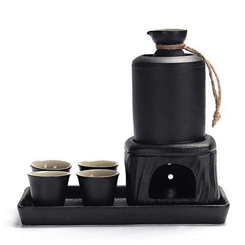 Juego de tazas de sake, juego de sake de 8 piezas, juego de copas de vino de cerámica negra con bandeja y calentamiento, juego de sake de textura pintoresca para servicio de sake caliente / frío, el