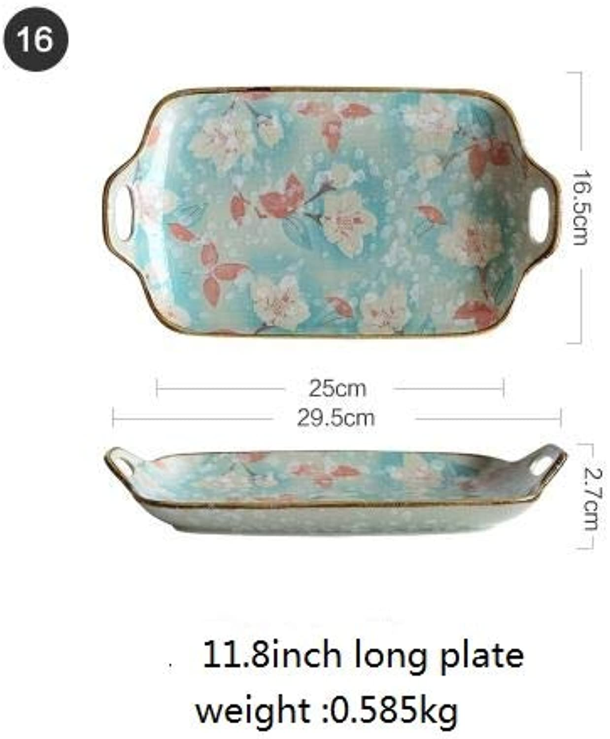 Farmerly Japanese Style Ceramic White Yulan Flower bluee color Small Spoon Soup Bowl Sauce Dish Kitchen Tableware   11.8 inch Long Plate