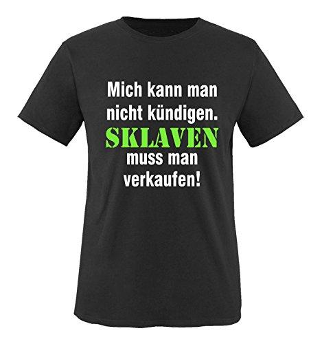 Comedy Shirts - Mich kann man nicht kündigen. Sklaven Herren T-Shirt - Schwarz/Weiss-Neongrün Gr. 3XL