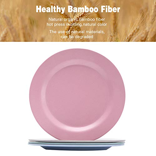 Bamboo Toddler Plates (8' x 8'), 4pcs Bamboo Kids Plates for Baby Feeding, Non Toxic & Safe Toddler Plates, Eco-Friendly Tableware for Baby Toddler Kids Bamboo Toddler Dishes & Dinnerware