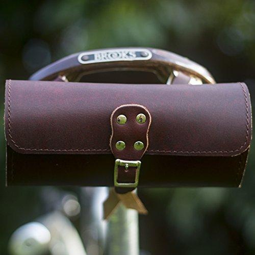 Bolsa para sillín de bicicleta de piel vino marrón buena para sillín...
