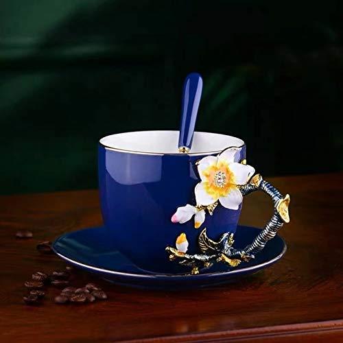 BJHSYNDR Taza de café y platillo, de porcelana, esmaltada, estilo europeo, con diseño de flores 3D