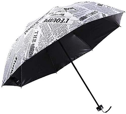 ZJJJD Regenschirm Sturmsicher Lightweight Wunderschönen Rutschsicherem Premium Qualität Regenschirm Zeitung Dreifach Gefalteter Sonnenschutz Regenschirm Persönlichkeit-weiß