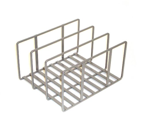 "Seville Classics Vertical Pan Lid Rack Kitchen Counter and Cabinet Organizer, 10"" W x 8.5"" D x 5"" H, Platinum"