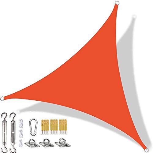 YAOYI Toldo triangular, impermeable, protección UV, para jardín, terraza, patio, fiesta, kit de fijación y cuerda (4 x 4 m), color naranja