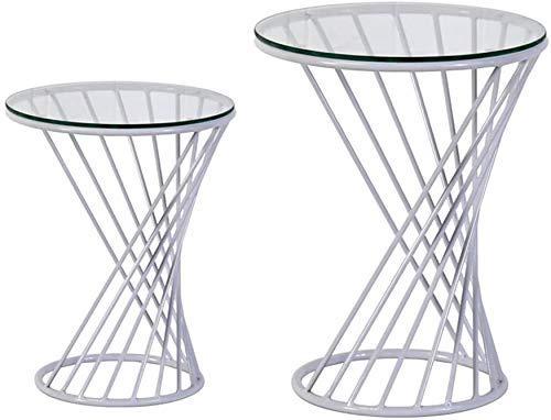 LYHY Nest of Tables Mesa de Centro Blanca Mesas auxiliares Mesa para portátil Nido Lateral Acento Extremo Redondo de Metal con Tapa de Cristal 3 Colores, Dorado, 38 * 48CM + 50 * 60CM