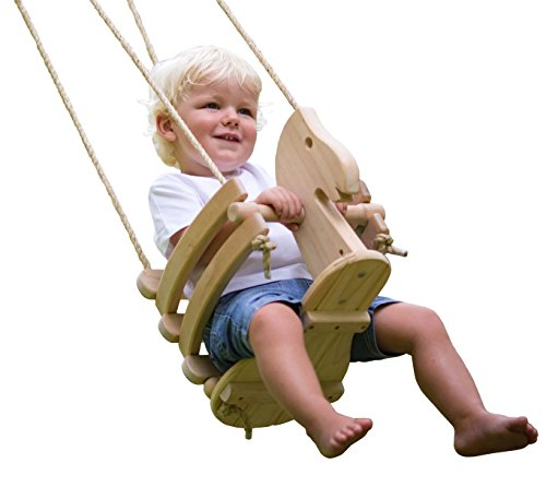 Wooden Horse Baby Swing for Outdoor Porch or...