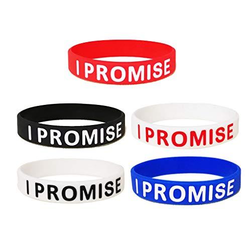niumanery 5Pcs Assorted Colors I Promise Silicone Sport Wristband Bracelets Unisex Jewelry