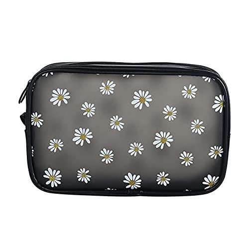 LSZA Bolso de Cosméticos,1 Pc Cute Daisy Cosmetic Bag Zipper Waterproof Cartoon Women Makeup Bag Travel Toiletry Bag Beauty Case,L Black