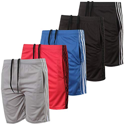 5 Pack: Big Boys Youth Clothing Knit Mesh Active Athletic Performance Basketball Soccer Lacrosse Tennis Exercise Summer Gym Golf Running Teen Shorts -Set 2- M (8/10)