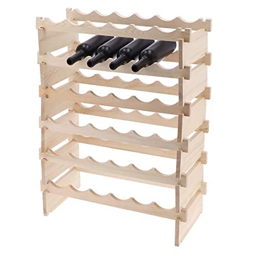 Ausla Botellero apilable de Madera,Estante para Almacenamiento de Vino, Soporte botellero para Vinos, Mostos, Bebidas y Licores,36 Botellas,85x62x28cm