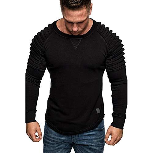 Kenmeko Sweatshirt Felpa Uomo Tee Maglietta a Maniche Lunghe Uomo Felpa Top Camicetta Splicing Wrinkle Pullover in puro colore ( XXL,Nero )
