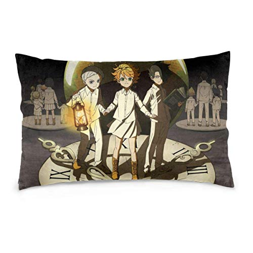 zhenglongbaihuodian Pillow Case Anime The Promised Neverland Rectangular Pillowcases Throw Cushion Covers Pillow Cover for Car Sofa Bed Home 20x30inch