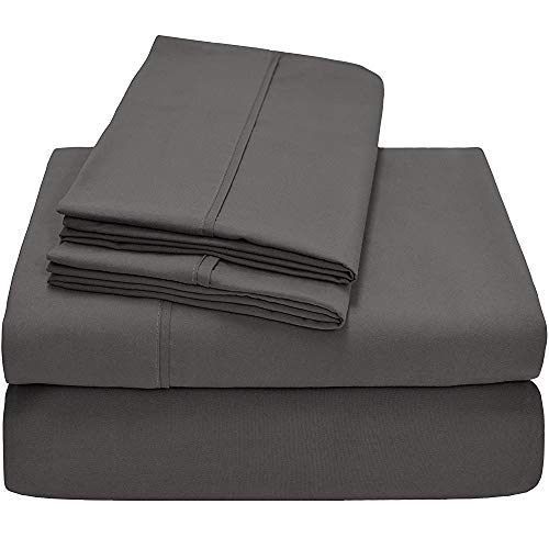 Best-Bedding RV Bunk Sheets 42 x 80 Inches Dark Grey Solid 4 PCs RV Sheet Set 8 Inches Deep for RV Mattress Ultra Soft Natural 100% Cotton 600-Thread-Count Stronger Durable RV Sheet Set