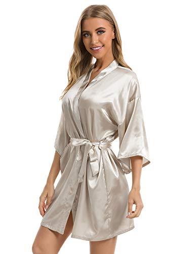 Vlazom Kimono Mujer Bata para Satén Mujer Suave y Sexy, Albornoces para Muje de Dormir/Batas Mujer de Pijamas S-XXL,S,Champán Oscuro
