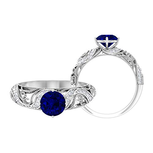 5.00 MM Solitaire Blue Sapphire Ring, HI-SI Diamond Accent Ring, Filigree Engagement Ring, Gold Vintage Ring (AAA Quality), 14K White Gold, Size:UK W