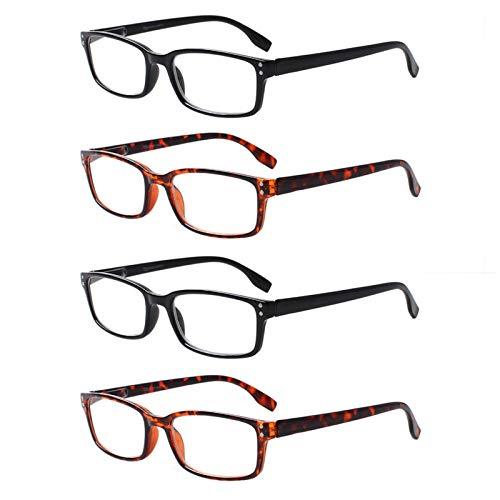 4 Paar Lesebrille Stilvolle Musterrahmen Leser Qualität Mode Damen Herren Brille für Frauen