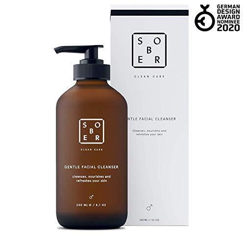 sober®   Gentle Facial Cleanser   Milde Gesichtsreinigung für Männer mit Aktivkohle gegen Mitesser, Pickel und Akne