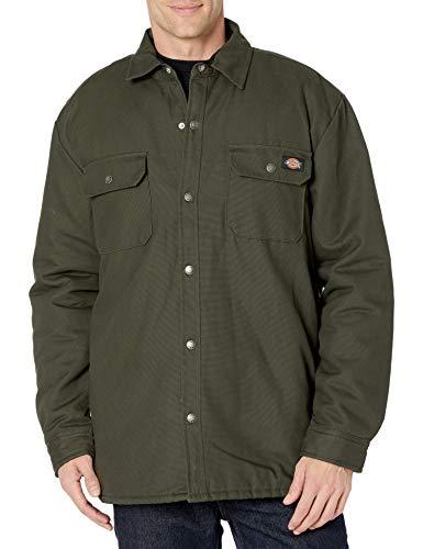 Dickies Flannel Lined Duck Shirt Jacket with Hydroshield Abrigo de utilidades de Trabajo, Verde Oliva, 2X para Hombre