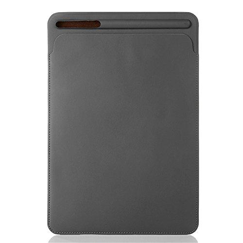 PINHEN Tasche für iPad Pro 12.9 2018 Ärmelkoffer & Pencil Halter - iPad Pro 12,9 Hülle Leder Schutzhülle Sleeve für das Neue Apple iPad Pro 12,9 Zoll 2018 2017 2015 (12.9 Grey)