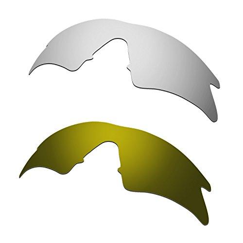 Hkuco Mens Replacement Lenses For Oakley M Frame Sweep Sunglasses Titanium Mirror/Bronze Polarized