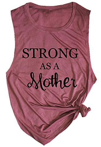 Strong As A Mother Mom Muscle Tank Top Women's Letter Graphic Cute Mama Vest Tees Casual Sleeveless Workout Shirt (X-Large, Pink)