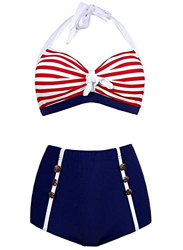 Doballa Damen 50er Retro Bademode Bikini Set Neckholder Push up hohe Taille Bauchweg Gestreift (S(EU36), Roter Streifen)