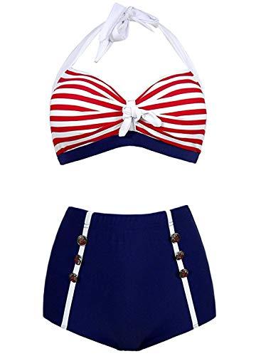 Doballa Damen 50er Retro Bademode Bikini Set Neckholder Push up hohe Taille Bauchweg Gestreift (M(EU38), Roter Streifen)