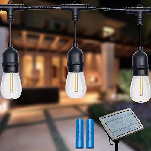 LED-Lichterkette für den Außenbereich, 121,9 m, 16 Stück E26 Vintage-Edison-Glühbirnen mit USB-Aufladung, Warmweiß, für Garten, Weihnachten, Hochzeit, Party