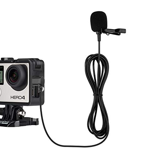 Hero 4 Microphone Compatible with GoPro Hero 4 Silver Black White Edition, Hero 3, Canon, Nikon Camcorder DSLR Camera- External Lavalier Lapel Mic