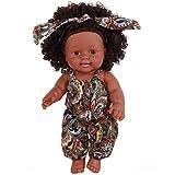 FR&RF África Negro Reborn muñeca 35 CM / 14 Pulgadas Hecho a Mano Completo Silicona Vinilo bebé Suave Realista recién Nacido muñeca Juguete niña Regalo de cumpleaños,10,Girl