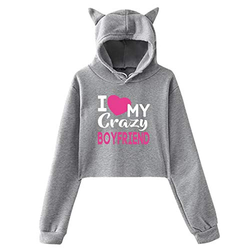 I Love My Crazy Boyfriend Cat Ear Hoodie Sweater Soft Classic Gray Small