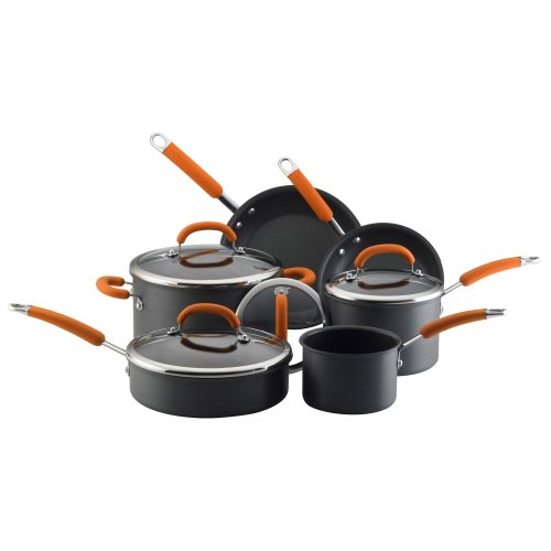 Rachael Ray Hard Anodized Nonstick 10-Piece Cookware Set, Orange