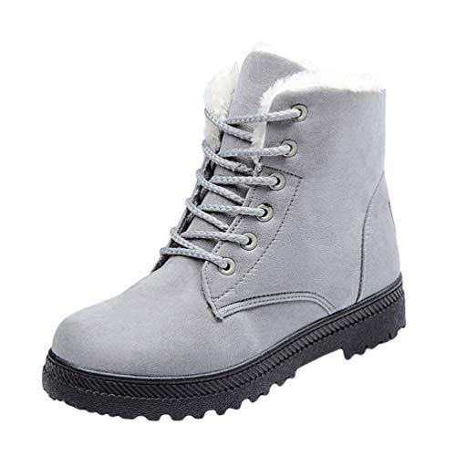Baijiaye Botas de Nieve Mujer Invierno Fur Botines Planos Calientes Tobillo Zapatos Forro Polar Casual