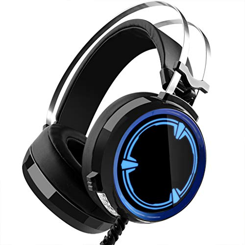 Stereo LED Symphony E-sports Gaming Headset met ruisonderdrukking Microfoon, Single USB Interface Game 7.1 Hoofdtelefoon Ijzer Grijs