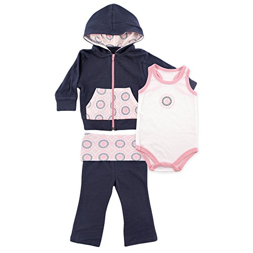 Yoga Sprout 3 Piece Jacket, Top and Pant Set, Navy/Baby Pink Ornamental, 18-24 Months (24M)